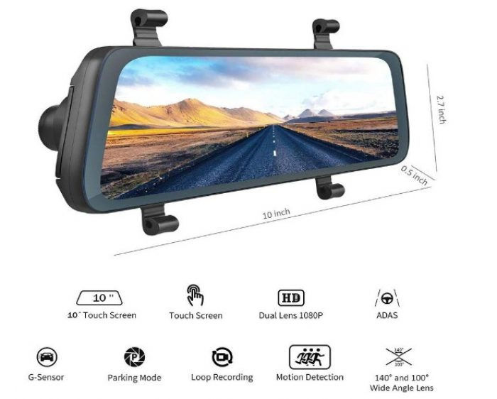 Acumen Mirror Dash Cam XR-10 Touch Screen
